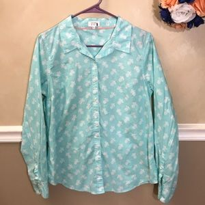 Crown & Ivy pineapple print button down top